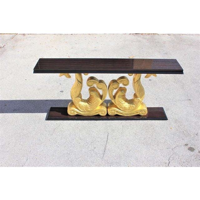 1930s 1930s French Art Deco Macassar Ebony Giltwood Console Table For Sale - Image 5 of 12
