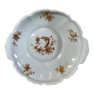Vintage Mid Century Limoges Hand Painted Handled Compote For Sale