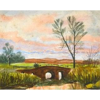 G. Buckthorp, English Countryside Landscape - Bridge at Dusk For Sale