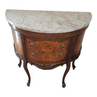 19th Century French Style Louis XV Marquetry Marble Top Commode For Sale