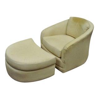 Vintage Mid Century Modern Maurice Villency Swivel Club Lounge Chair & Ottoman For Sale