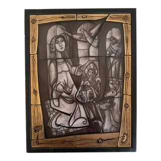 Mid Century Nativity Tile Wall Plaque For Sale