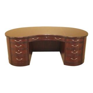 Traditional Henkel Harris Mahogany Large Kidney Shaped Desk For Sale