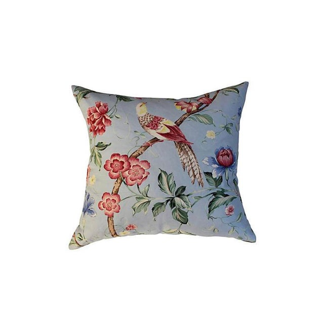 """Pair of custom pillows made with a Scalamandre """"Orienteaux"""" textile with floral and bird design. Backed in neutral linen..."""