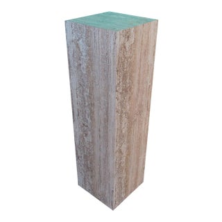 Modern Faux Travertine Marble Pedestal Column Display Stand For Sale