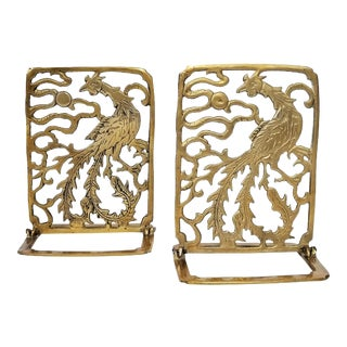 Vintage Pair of Phoenix Brass Bookends -Feng Shui - Asian Chinese Chinoiserie Palm Beach Boho Chic Mid Century Modern For Sale