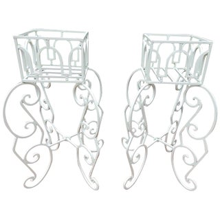 Planters, Mid-Century Modern Wrought Iron Pair For Sale