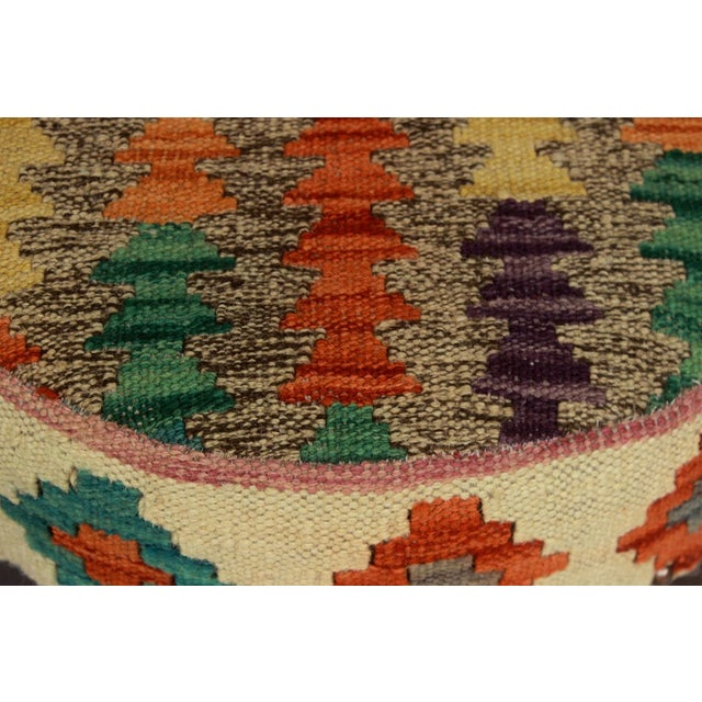 Textile Dino Brown/Ivory Kilim Uphostered Handmade Bar Stool For Sale - Image 7 of 8