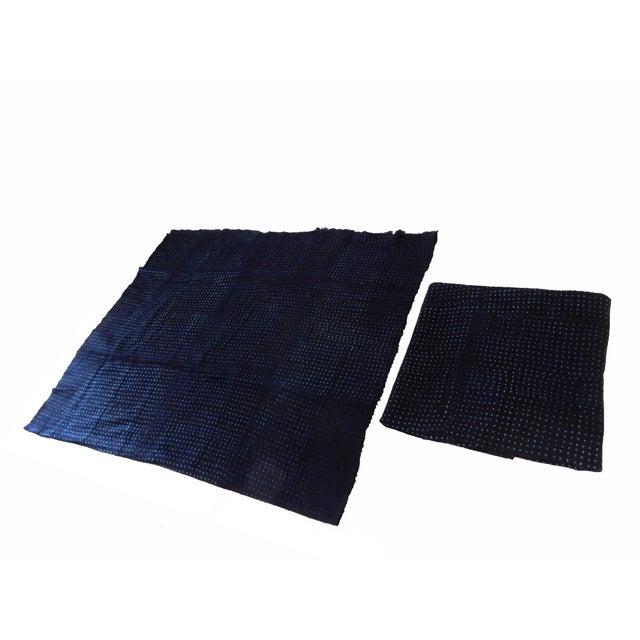 Malian Indigo Mud Cloth Textiles - S/2 For Sale - Image 4 of 5