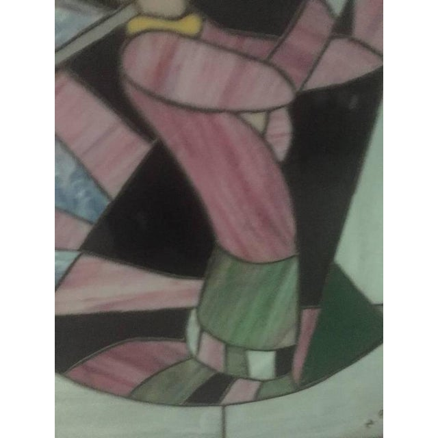 Signed Art Deco Stained Glass Woman Golfer For Sale In New York - Image 6 of 9