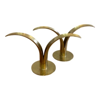 Ystad Metal Candlestick Holders - a Pair For Sale