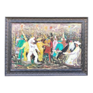 Vintage Mid-Century Mardi Gras Painting For Sale