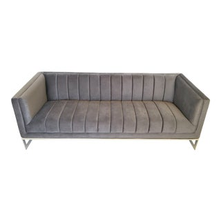 Mid-Century Modern Channel Design Floating Flat Bar Chrome Frame Sofa For Sale