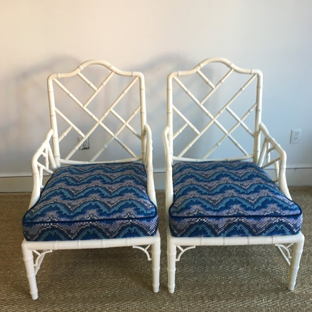 Vintage White Faux Bamboo Club Chairs - A Pair - Image 3 of 7