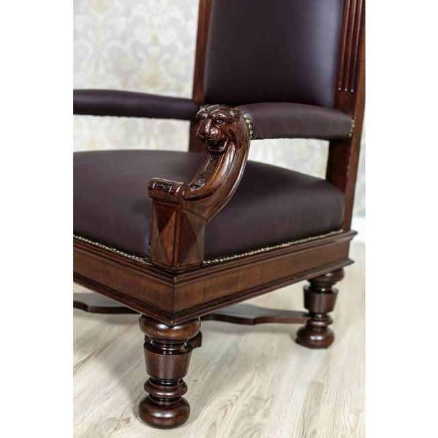 Traditional Circa 1920 Oak Armchair Throne For Sale - Image 3 of 9