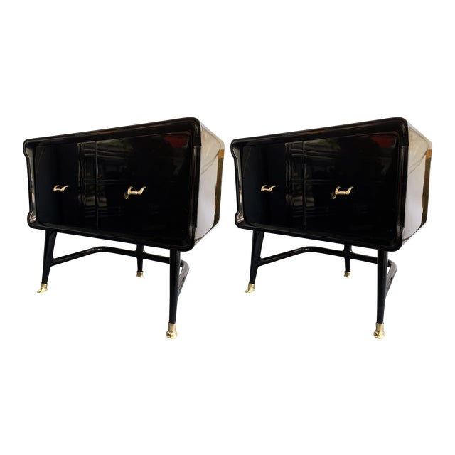 Pair of Lacquered and Bronze End Tables by Vittorio Dassi, Italy, 1950s For Sale