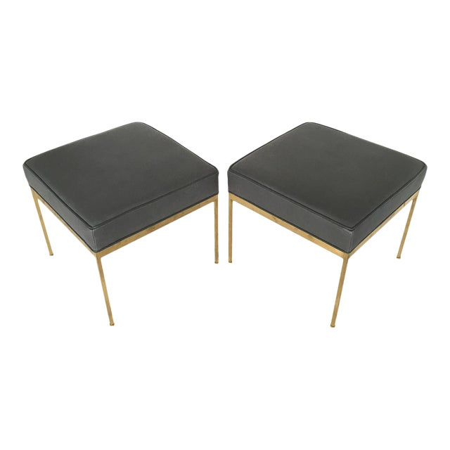 Lawson-Fenning Square Brass & Slate Gray Leather Ottomans - A Pair - Image 1 of 8