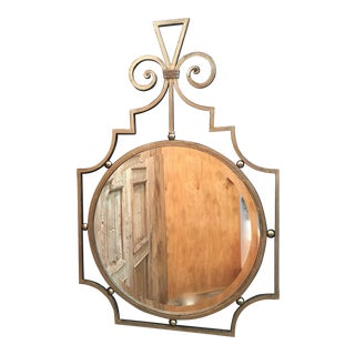 Vintage Metal Scroll Faux Gilt Mirror For Sale
