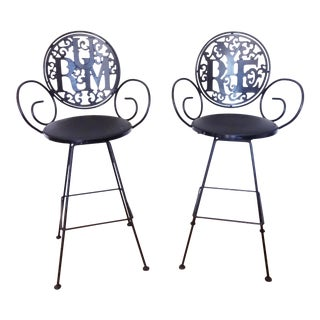 1960s Arthur Umanoff Rye & Rum Barstools - a Pair For Sale