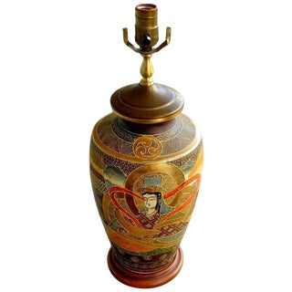 Japanese Satsuma Lamp with Figures For Sale