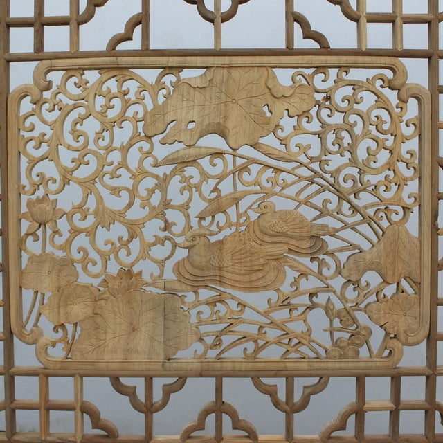 2010s Chinese Rectangular Flower Birds Geometric Wood Wall Decor For Sale - Image 5 of 6