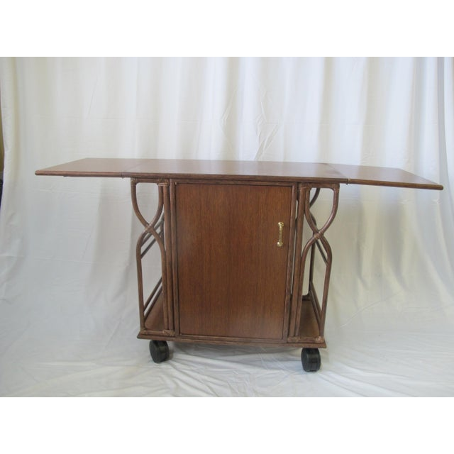 Mid-Century Modern 1980s Mid-Century Modern McGuire Wood Dry Bar Rolling Cart For Sale - Image 3 of 12