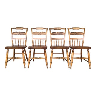 L. Hitchcock Maple Eagle Back Inn Chairs - Set of 4 For Sale