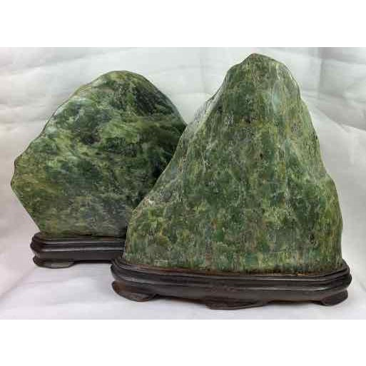 Jade Mountain Okimono Natural Jade Specimens - a Pair For Sale - Image 13 of 13