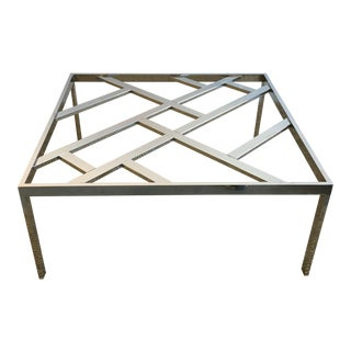 Mid-Century Chrome Fretwork Cocktail Table