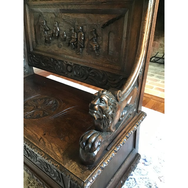 Late 19th Century Late 19th Century Antique Carved Oak Bench For Sale - Image 5 of 13