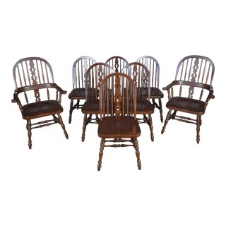 Solid Mahogany English Windsor Style Spindle Back Dining Chairs - Set of 8 For Sale