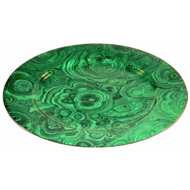 Metal Vintage Neiman Marcus Emerald Green Malachite Serving Plate For Sale - Image 7 of 10