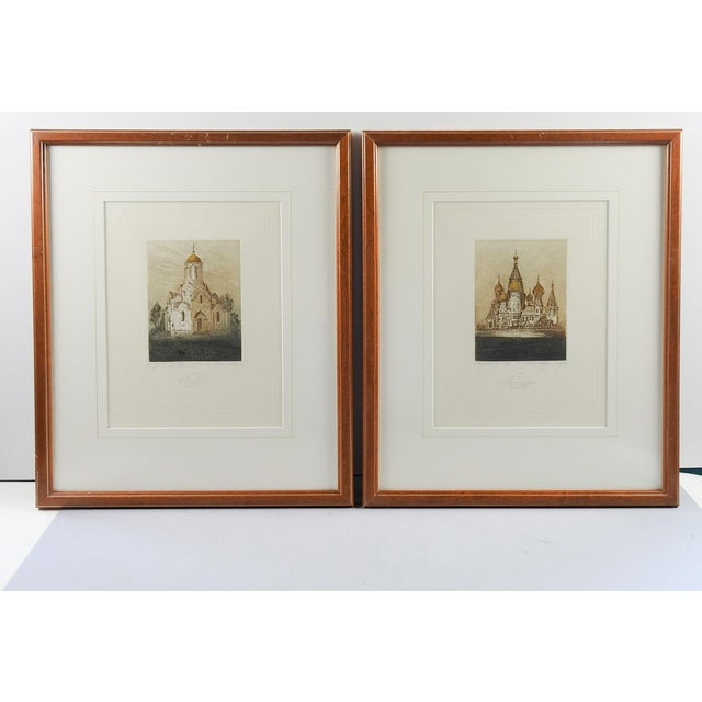 Pair of hand colored etchings of Orthodox Churches in Russia. St. Basil's Cathedral and Andronikov Monastery in Moscow....