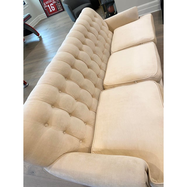 Grace Home Furnishings Beige Velvet NailHead Contemporary Sofa For Sale - Image 11 of 13