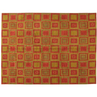 Red & Gold Tibetan Rug - 9′ × 12′ For Sale