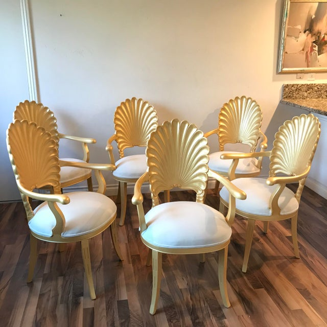 Mid Century Hollywood Regency Venetian Grotto Shell Gold Carved Arm Chairs- Set 6 For Sale - Image 11 of 12