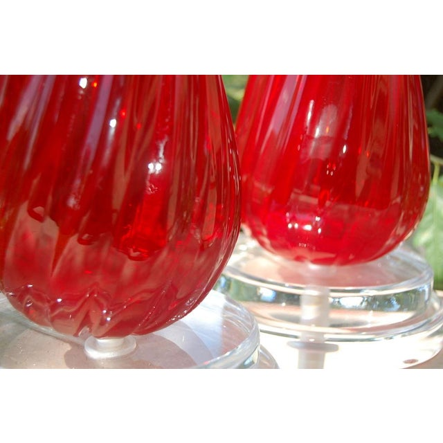 Brass Vintage Murano Glass Table Lamps Red- A Pair For Sale - Image 7 of 8