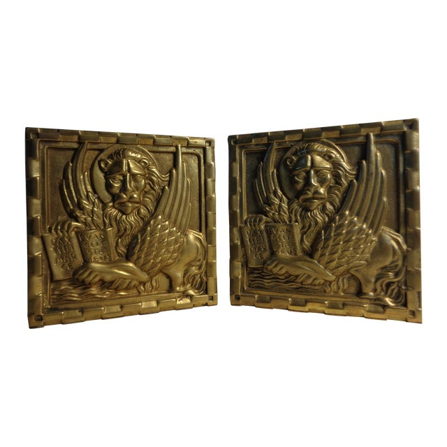 Solid Brass Venetian Bookends - Pair - Image 1 of 5