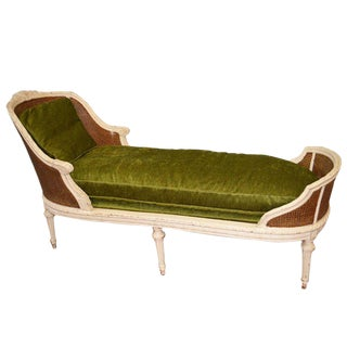 19th Century Louis XVI Style Chaise Longue With Cane, Newly Upholstered.
