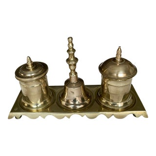 English 18th Century Brass Standish - 4 Pieces For Sale