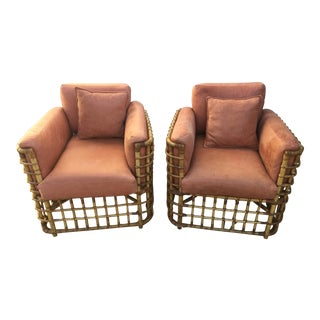 Vintage Rattan Club Chairs With Pigskin Leather - a Pair