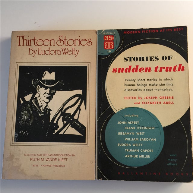 Vintage 1977 Thirteen Stories by Eudora Welty. Minor shelf wear and loss on cover. Stories of Sudden Truth 1953 Ballantine...
