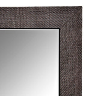 Contemporary Grey Hand-Woven Leather Framed Mirror Preview