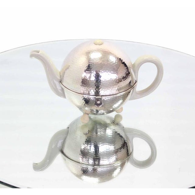 WMF Porcelain Tea Pot in Hammered Metal Insulated Cover For Sale - Image 9 of 10