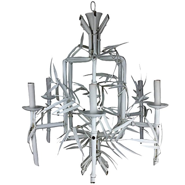 Italian Faux-Bamboo White Chandelier For Sale