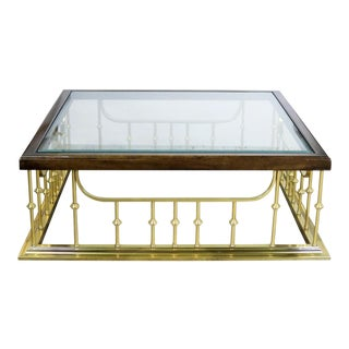 Brass Glass and Wood Fireplace Fender Style Large Square Coffee Table After Erwin Lambeth For Sale
