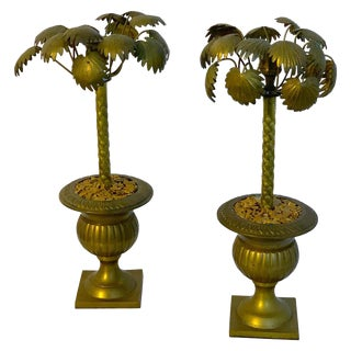 Pair of Regency Style Bronze Palmette Urn Candlesticks For Sale