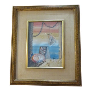 1952 Surrealist Gouache and Egg Tempera Painting For Sale
