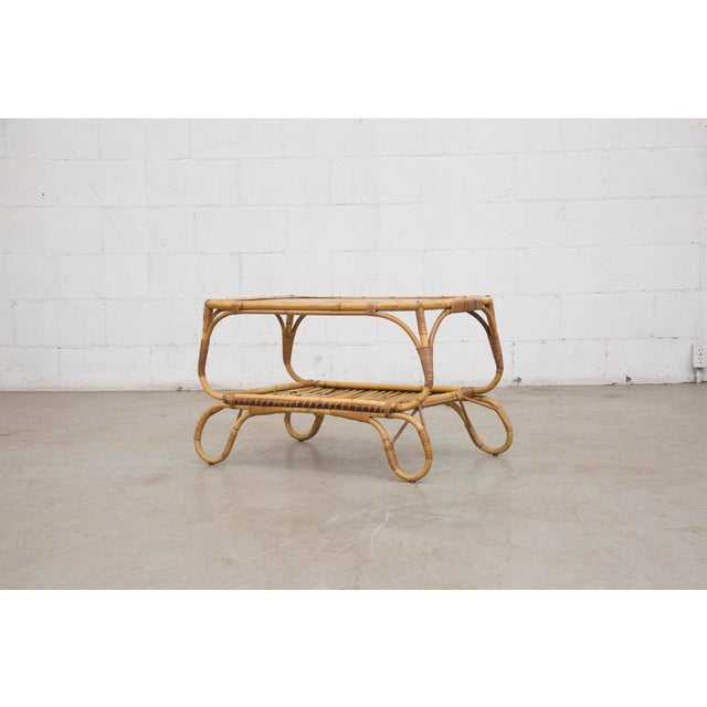 Bamboo Side Table With Magazine Rack - Image 2 of 7