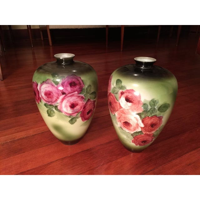 Vintage Porcelain Vases, Green With Roses - a Pair - Image 3 of 6